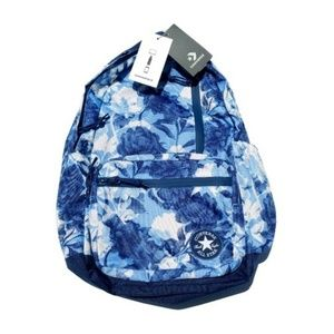 Converse Blue Floral Backpack Bag White